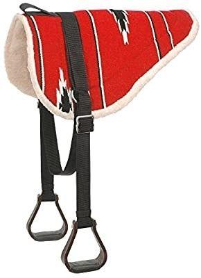Tough 1 Adult Navajo Bareback Pad  Red Black  Set of 2