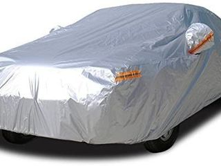 Kayme Car Covers for Automobiles Waterproof All Weather Sun Uv Rain Protection with Zipper Mirror Pocket