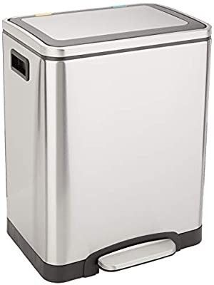 Amazon Basics C 10049FM 30l Trash can  2 x 15l  Brushed Stainless Steel
