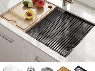 KRAUS Korea Workstation 30 inch Undermount 16 Gauge Single Bowl Stainless Steel Kitchen Sink with Accessories  Pack of 5