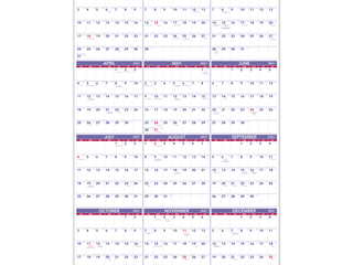AT A GlANCEi1 2 Yearly Wall Calendar  24  x 36  Blue Red White  January To December 2021  PM1228