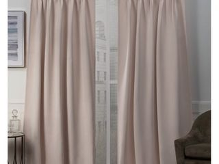 Set of 2 108 x30  Sateen Twill Woven Blackout Pinch Pleat Window Curtain Panel Blush   Exclusive Home