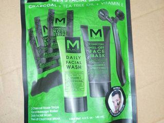 M BlACK Men s facial skin care set charcoal   tea tree oil   vitamin E