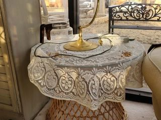 Wicker End Table   lamp