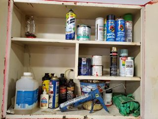 Spray Paint  Paint Thinner  Contents of Cabinet