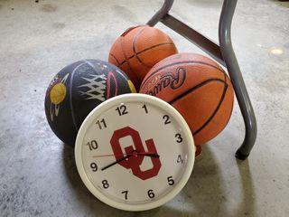 3   Basketballs  OU Clock  Sooner Parking Sign