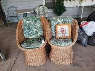 2   Wicker Crescent Chairs
