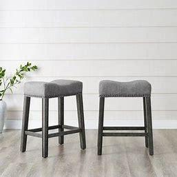 The Gray Barn Barish Backless Saddle Seat Counter Stools Set of 2