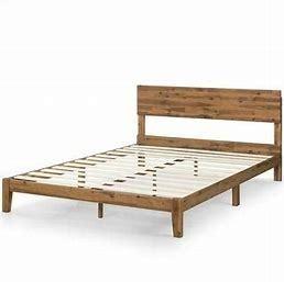 Priage by Zinus Acacia Wood King Platform Bed w  Headboard