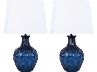 Glass Table lamp w  Patterned Base  amp  linen Shades Set of 2