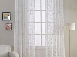 Window Privacy Curtains Sheer Panels Set of 2