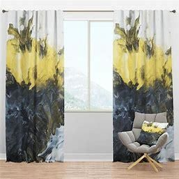 Design Art Hand Painted Marble Composition Mid Century Modern Curtain Panels Set of 2