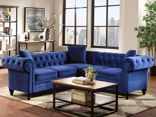 Tufted Velvet Upholstered Rolled Arm Sectional Sofa Pieces  BOX 2 OF 2