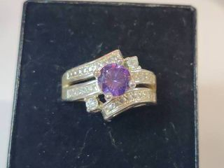 Sterling Silver Purple Amethyst and White Topaz Ring Size 8