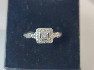Vintage Style Sterling Silver Diamond Ring Size 7