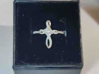 Sterling Silver White Topaz Cross Ring Size 7