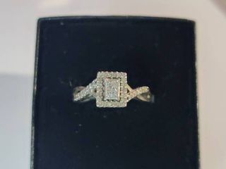 Vintage Style Sterling Silver Diamond Ring Size 6 5