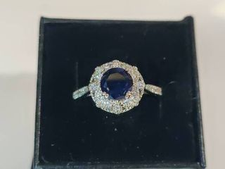 Sterling Silver Blue Sapphire and AA Zircon Gemstone Ring Size 8 5