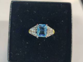 Sterling Silver Swiss Blue Topaz with white Topaz Gemstone Ring Size 6
