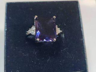 Sterling Silver Purple Amethyst Ring Size 5