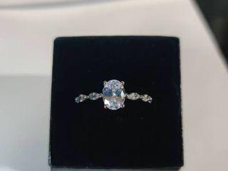 Sterling Silver Twisty Designed AA Zircon Gemstone Ring Size 8