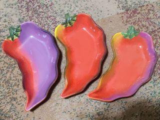 Set of 3 Red Pepper Serving Bowls  Snacks  Dips