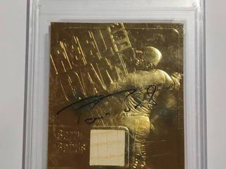 2000 23K Gold Collectibles Feel The Game Barry Bonds   Game Used Bat   and Encased Playing Card