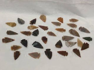lot of Hand Carved Arrowheads