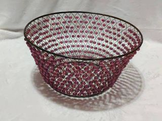 Vintage Purple Hand made Beaded Basket