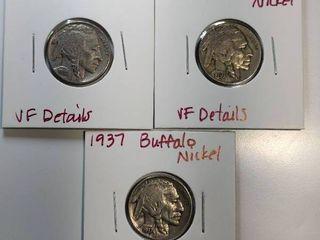 1935  1936  1937 Buffalo Nickels