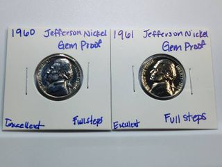 1960  1961 DCAM Gem Proof Jefferson Nickels with Full Steps