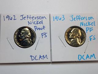 1962  1963 DCAM Gem Proof Jefferson Nickels with Full Steps