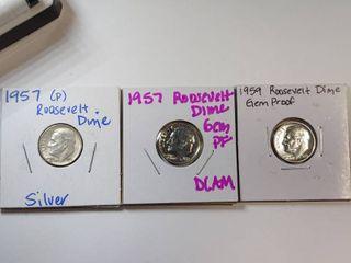 1957 P  1957 Gem Proof 1959 Gem Proof Roosevelt Dimes