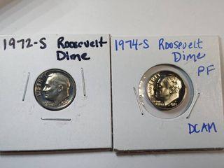 1972 S 1974 S Gem Proof Roosevelt Dimes