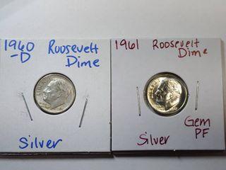 1960 D  1961 Gem Proof Silver Roosevelt Dimes