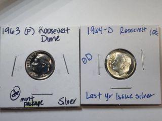 1963 P  1964 D Silver Roosevelt Dimes