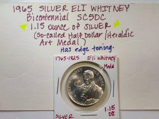 1965 SIlVER Eli Whitney Bicentennial SC50C Heraldic Medal  1 ounce pure Silver