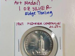 1967 Silver Nebraska  Railroad to Statehood  Heraldic Medal 1867 1967  1 ounce pure silver