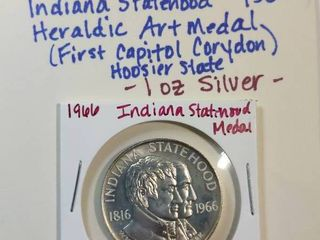 1966 Silver Indiana Statehood  First Capitol of Corydon  Hoosier State 1816 1966 SC50C  1 ounce silver