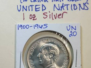 1965 Adlai Ewing Stevenson SC50C Heraldic Medal  1 ounce silver