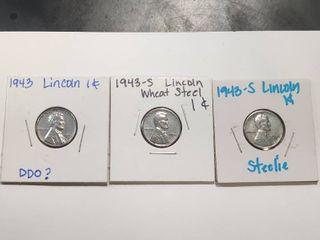 1943 lincoln Penny X3  Steelies