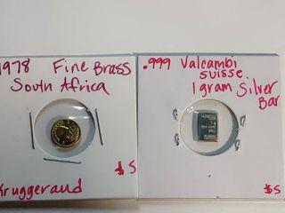 Mini Silver Brass 1 gram Bars