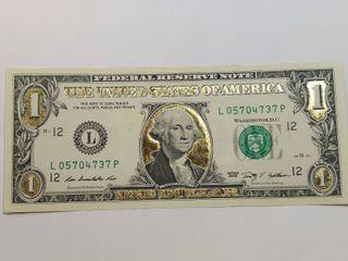 22K Gold leaf legal Tender  1 Bill