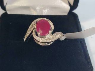 White Gold Rhodium over Sterling Silver Ruby and Topaz Designer Ring Size