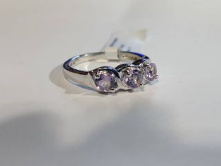 Rhodium over Sterling Silver  75 CTW 3 Stone Violet Amethyst Designer Ring Size 7