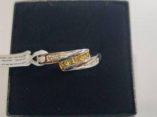Sterling Silver Citrine and Topaz Designer Ring Size 5 5