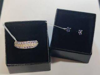 White Gold Rhodium over Sterling Silver Tanzanite and Topaz Designer Ring Size 7
