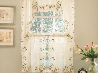 Old World Floral Embroidered Sheer Kitchen Curtain Tier Pair  58 x 24