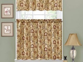 Traditions by Waverly Navarra Floral Tier and Valance Set   52X36