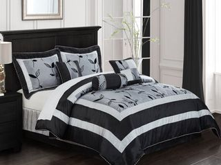 Grand Avenue Orchid Silver 7 piece Bedding Comforter Set QUEEN
